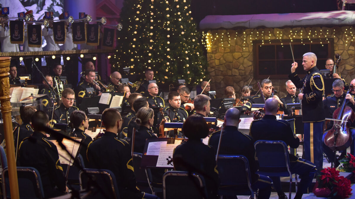 The U.S. Army Orchestra in a performance conducted by COL Andrew Esch, Commander of Pershing's Own.