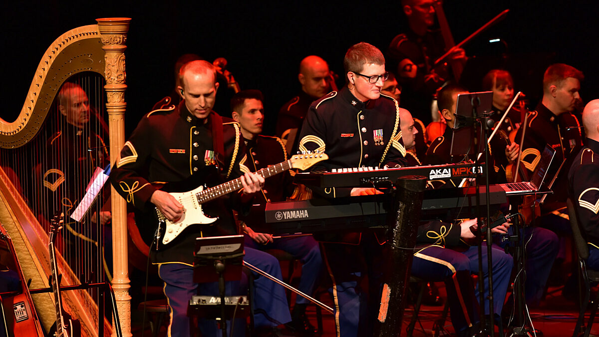 Downrange performing with orchestra