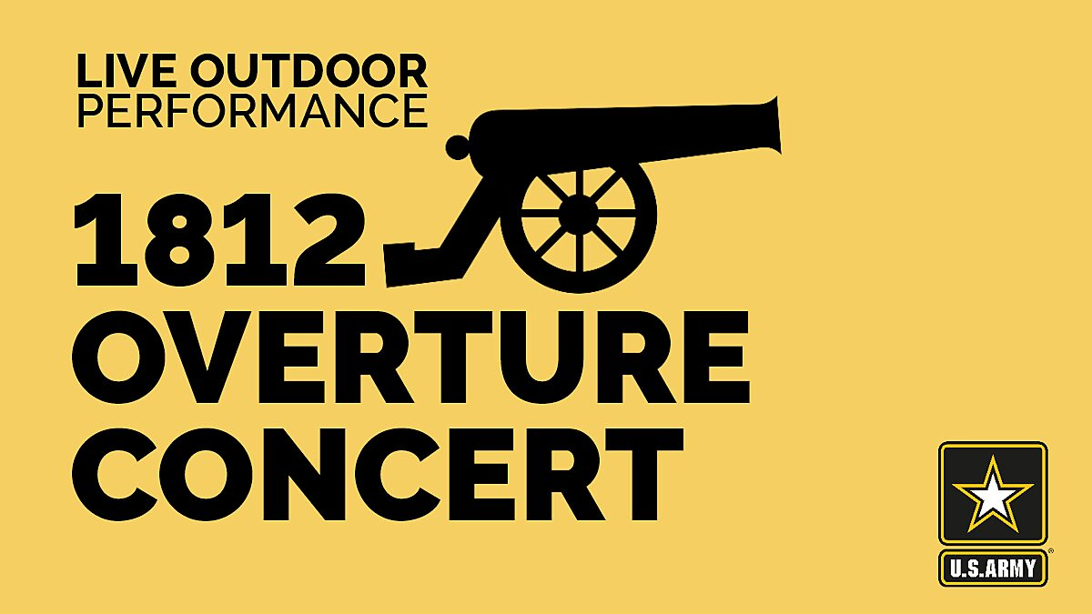 Graphic of cannon advertising outdoor 1812 Overture Concert