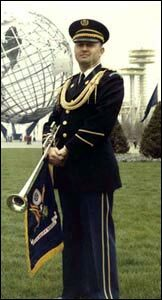 A member of the Herald Trumpets wearing the 1957 uniform